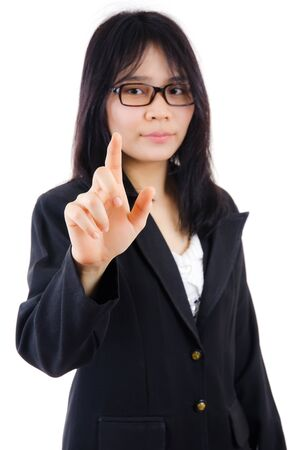Business lady pressing isolated on the white background. photo