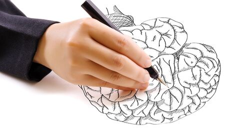 neurologist: Hand drawing doodle brain for education concept. Stock Photo