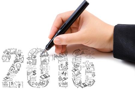 calendario diciembre: Dibujo a mano Dise�o del A�o Nuevo 2016 Texto de negocios creativa del Doodle, la tecnolog�a y la planificaci�n de la estrategia icono idea.
