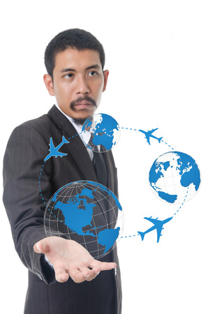 business globe: Businessman Holding World Map Globe for Business and Technology concept.
