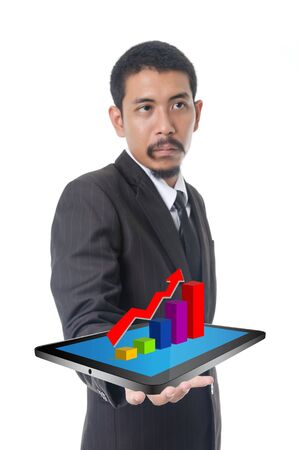 Businessman holding tablet with finance graph for trade stock market, isolated on the white background. photo