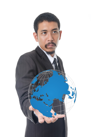 Businessman Holding World Map Globe for Business and Technology concept. photo