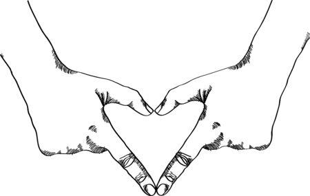 10 fingers: Doodle hand make heart vector illustration, EPS 10.