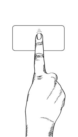 click button: Doodle hand touching on the button, Vector Illustration EPS 10.