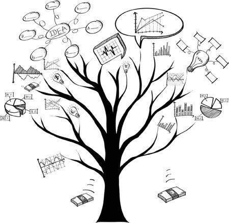 Gráfico del garabato del negocio con el árbol del garabato, ejemplo EPS 10 del vector.