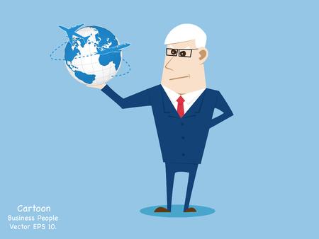 hand holding world: Concept of Business cartoon hand holding world map globe, Vector Illustration EPS 10.