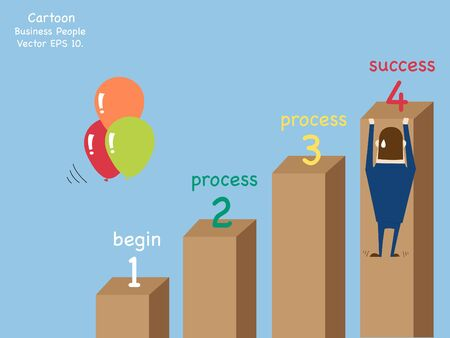 hard: Concept with Business cartoon people work hard for success, Vector Illustration EPS 10. Illustration
