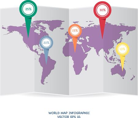 earth map: World map globe info graphic for communication concept, Vector Illustration EPS 10.