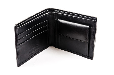 billfold: Crocodile Men Wallet Isolated on the white background. Stock Photo