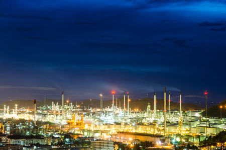 condensing: Oil purify plant with blue sky. Stock Photo