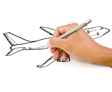 turbulence: Hand drawing airplane around the city for transport and business concept.