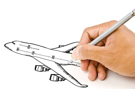 air liner: Hand drawing airplane around the city for transport and business concept.