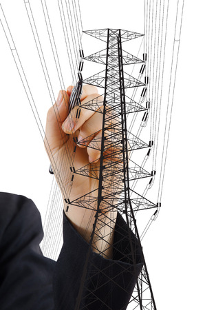 power pole: Hand Drawing High voltage power pole line for construction concept. Stock Photo