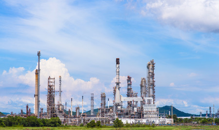 Oil purify plant with blue sky. Editorial