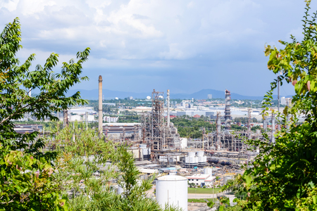 Oil purify plant with blue sky. Stock Photo