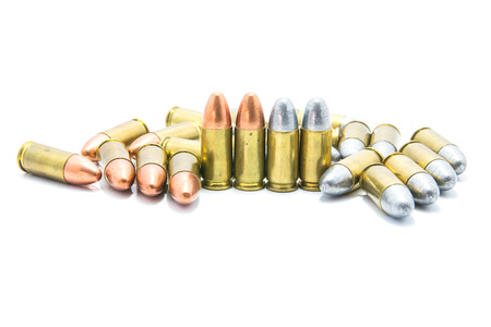 Golden Bullets isolated on the white Background. Stock Photo