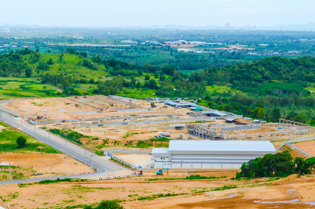 Estates Zone under Construction with Blue Sky field. Stock Photo