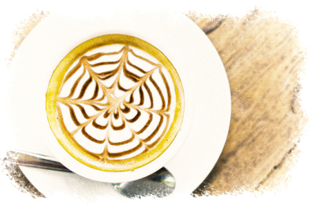 Watercolour Painting of Coffee cup on the wood texture. 版權商用圖片