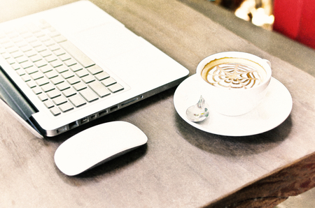 Watercolour Painting of Coffee cup and laptop on the wood texture. 版權商用圖片