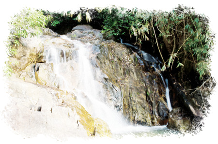 Watercolour Painting of Waterfall in Thailand, call Kra Thing waterfall.