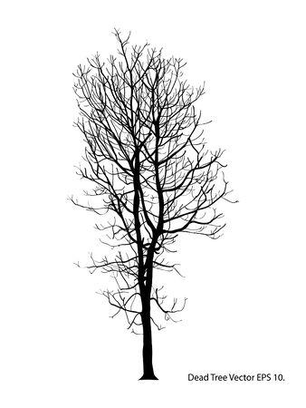 Toter Baum ohne Blätter Vektor-Illustration skizziert, Vektorgrafik
