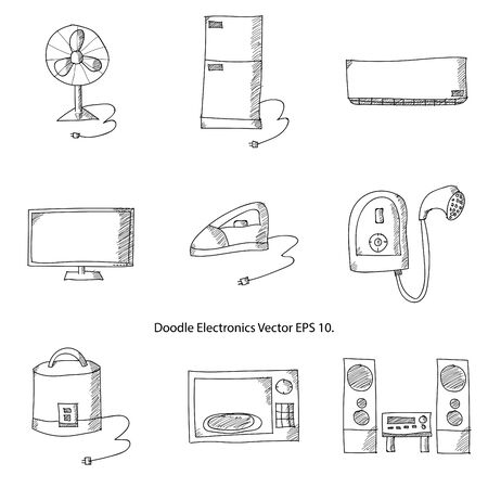 Doodle Electronics Icons Vector Illustrator