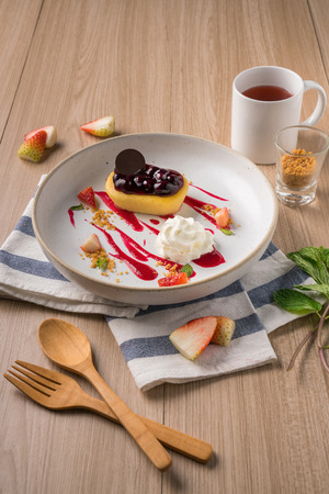 Dessert set decoration with coffee styles in the morning.