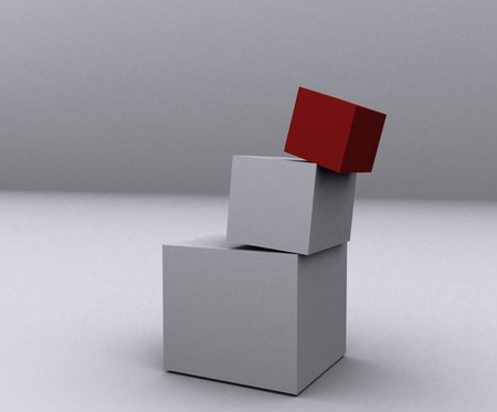 Boxes that are at risk of falling. photo