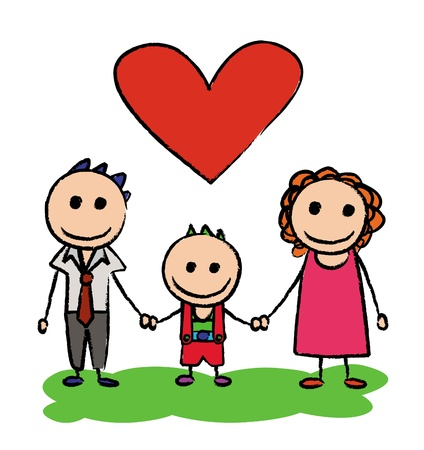 Happy family. father mother and son. Stock Vector - 12082896