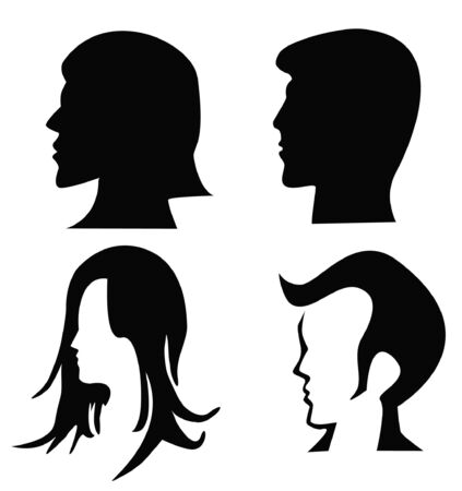 silhouettes of heads. Vector