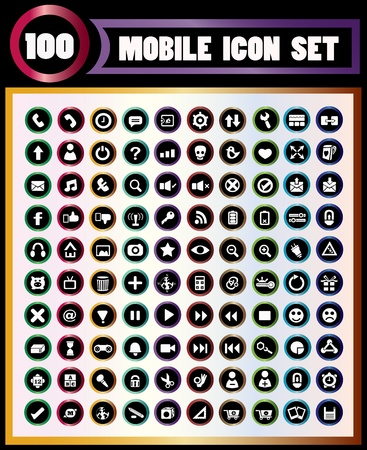100 icons of moblie High quality and can resize  Vector