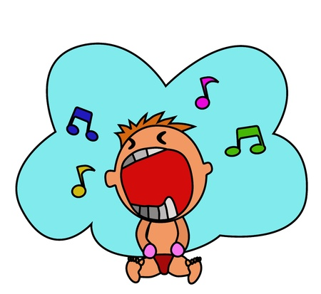 Kid crying - A cute boy is crying that he probably singing a song Stock Vector - 13458716