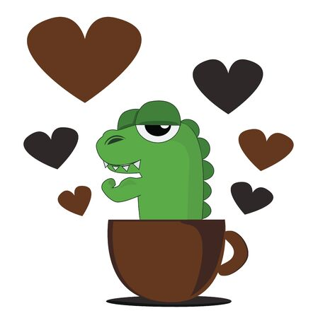 cartoon Crocodile and coffee cup  Illustration