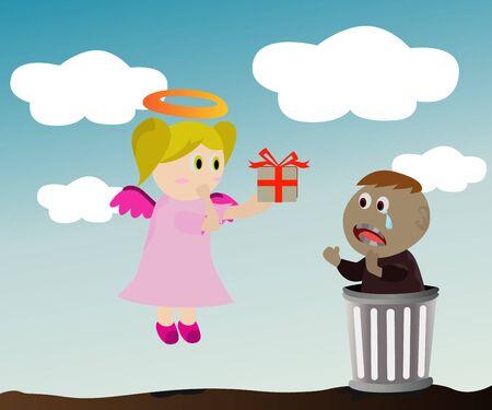 Illustration - - Angel and poor boy  illustration