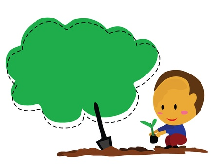 Illustration - The boy planting a tree Concept Save the earth