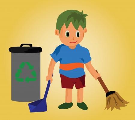 ni�os reciclando: Un ni�o boy.A limpieza y papelera de reciclaje. Vectores
