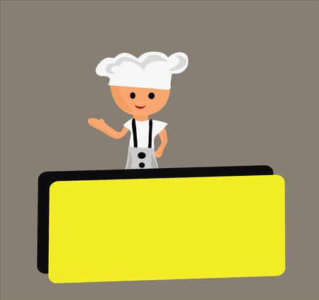 Chef and empty blank. Illustration