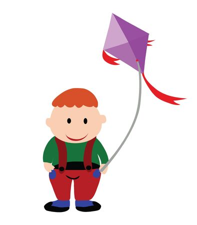 Fat boy.A fat boy is playing a kite.  Vector