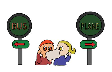 A choice,Bus or plane.A couple was deciding between bus or plane. Illustration