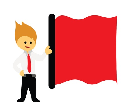 Businessman and red flag.A businessman holding a red flag.