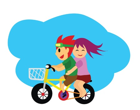 The couple over a bicycle  Illustration