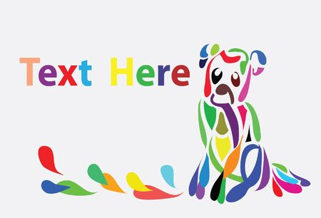 Abstract colorful background with a dog  Illustration