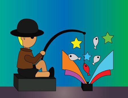 fishing pole: Vector - Fishing He was fishing in the black box