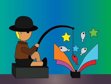 Vector - Fishing He was fishing in the black box Stock Vector - 13910689