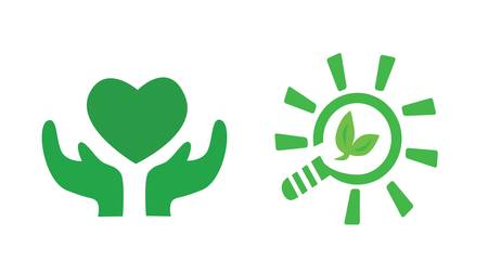 take care: Green signs Concept Take care the earth  Illustration