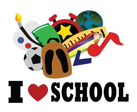 i like my school: Vector - I love school Concept School make you have more experience