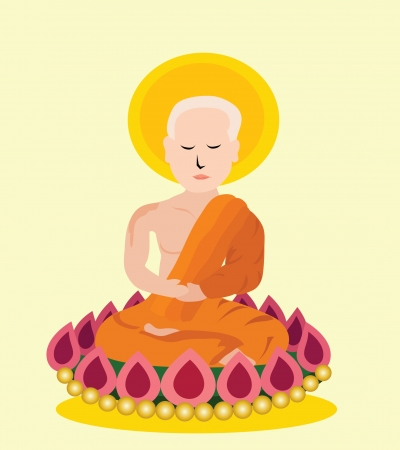 Vector - Monk A Monk sitting on a lotus  Stock Vector - 13910694
