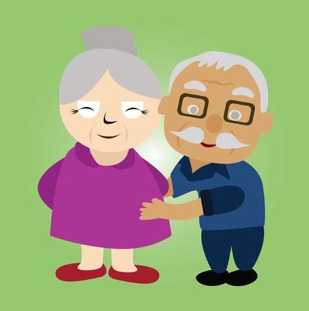 vecchiaia: Vector - coppia di anziani ha abbracciare sua moglie Vettoriali