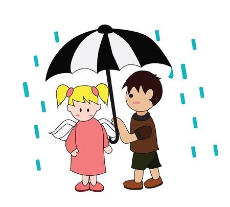 Vector - Raining He gave her an umbrella Stock Vector - 13910668