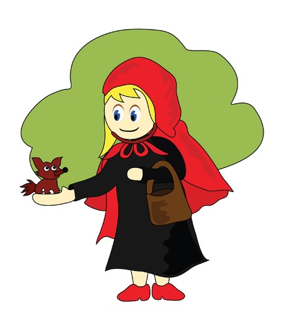 Vector - Little Red Riding Hood and the little wolf